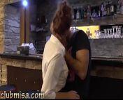 Sexy waitress fucks hard with horny customer from boys pub